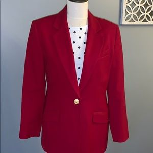 100% wool woman's red blazer size 10